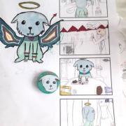 travail en cours pendant le stage manga chibi et mascottes